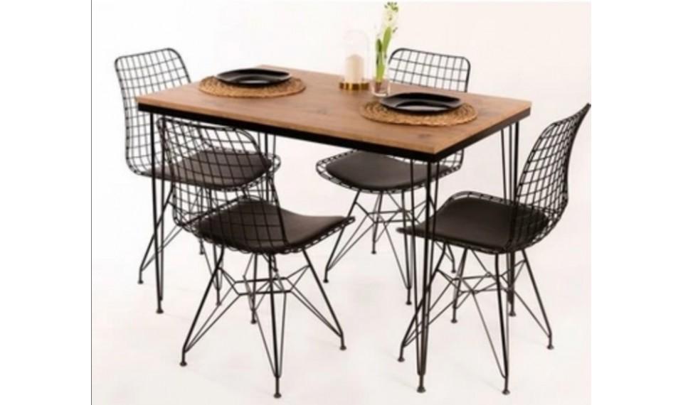 Tel Masa Sandalye Takımı 6 Sandalyeli