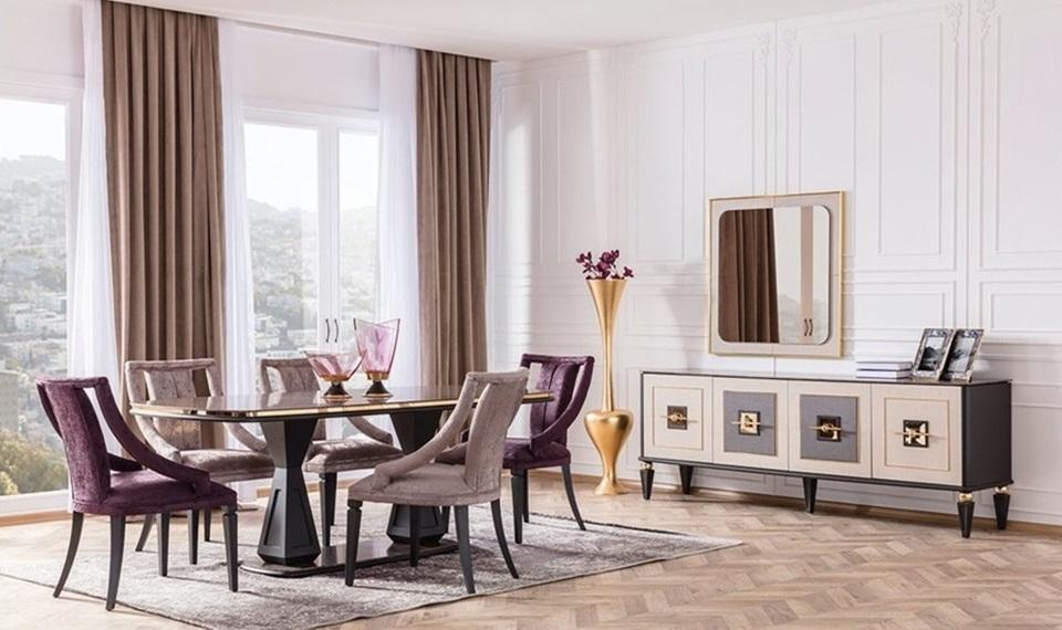 Gold Art Deco Modern Yemek Odasi